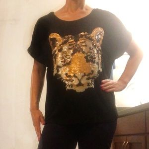 Black sequin tiger face top- size small